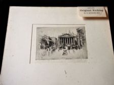 ANTIQUE UNFRAMED + MOUNT ETCHING MONOCHROME PRINT SIGNED G HUARDEL-BLY LONDON